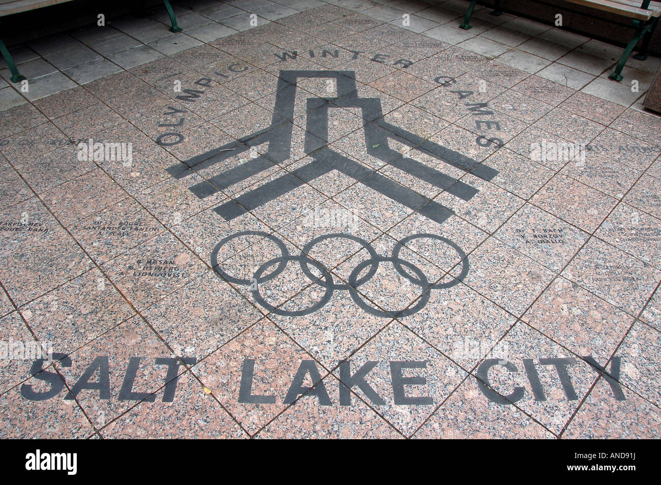 Olympic mural on a pavement, Salt Lake City, USA - Stock Image