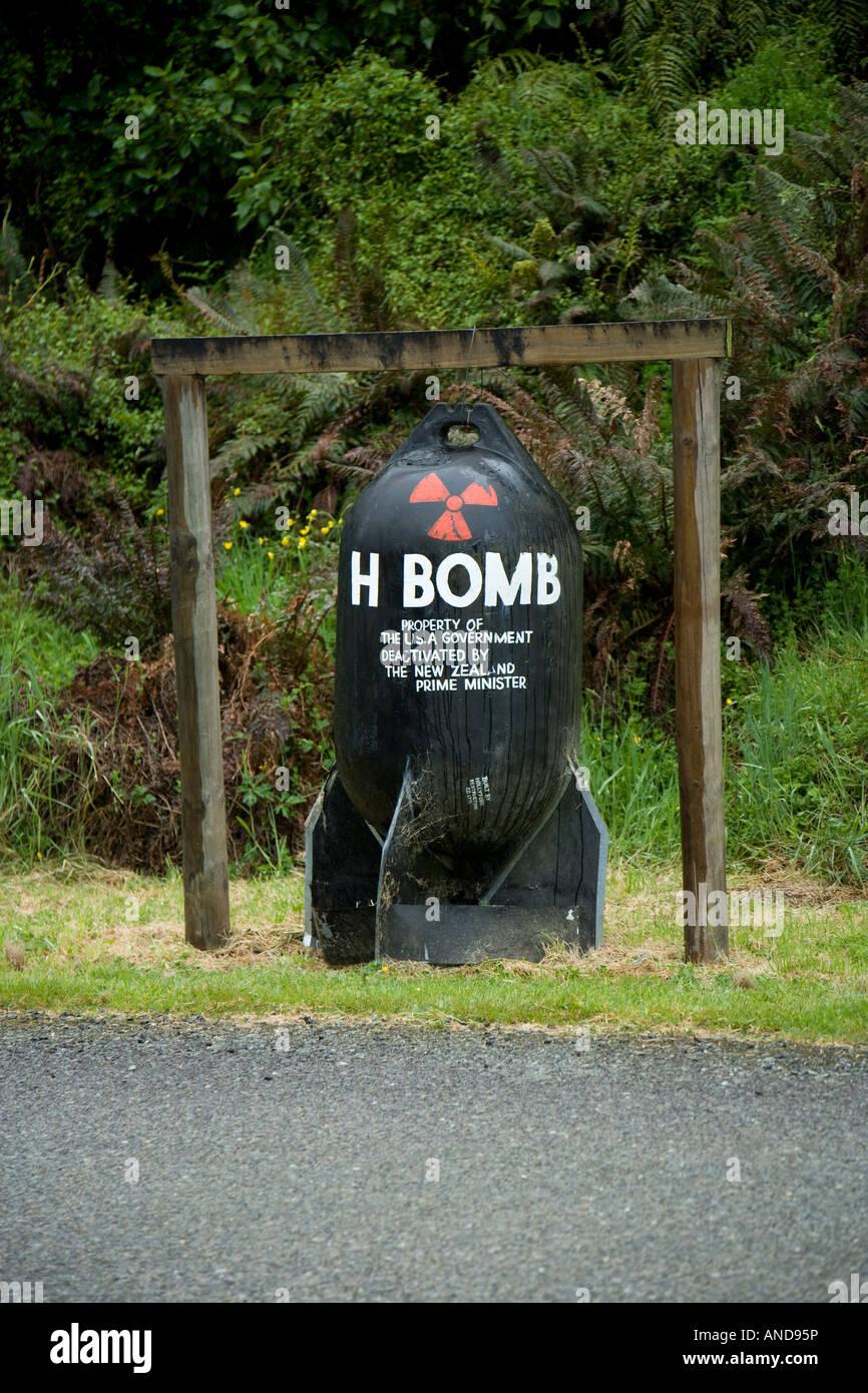 A joke H bomb at Gunns Hollyford Camp in New Zealand - Stock Image