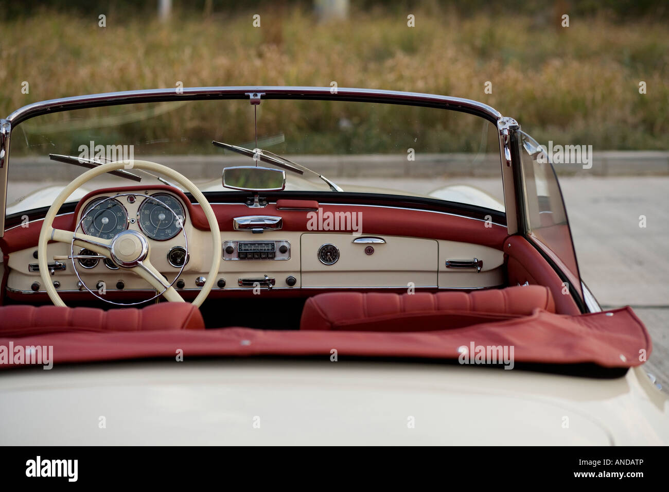 Detail of a vintage sport luxury car. - Stock Image