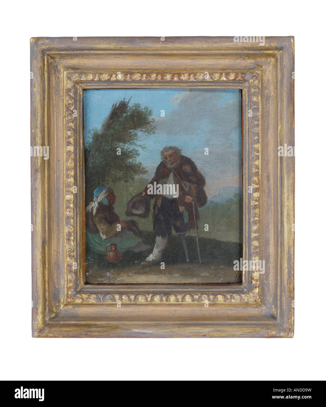 oil painting of two poor old people one with a wooden leg - Stock Image