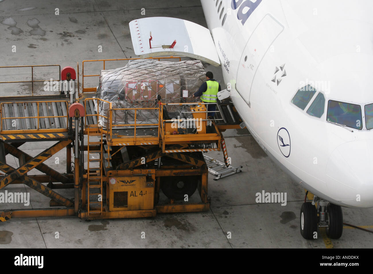 Loading air cargo on board a Lufthansa Airbus A340-300 jet plane. Global transport networks and supply chains. - Stock Image
