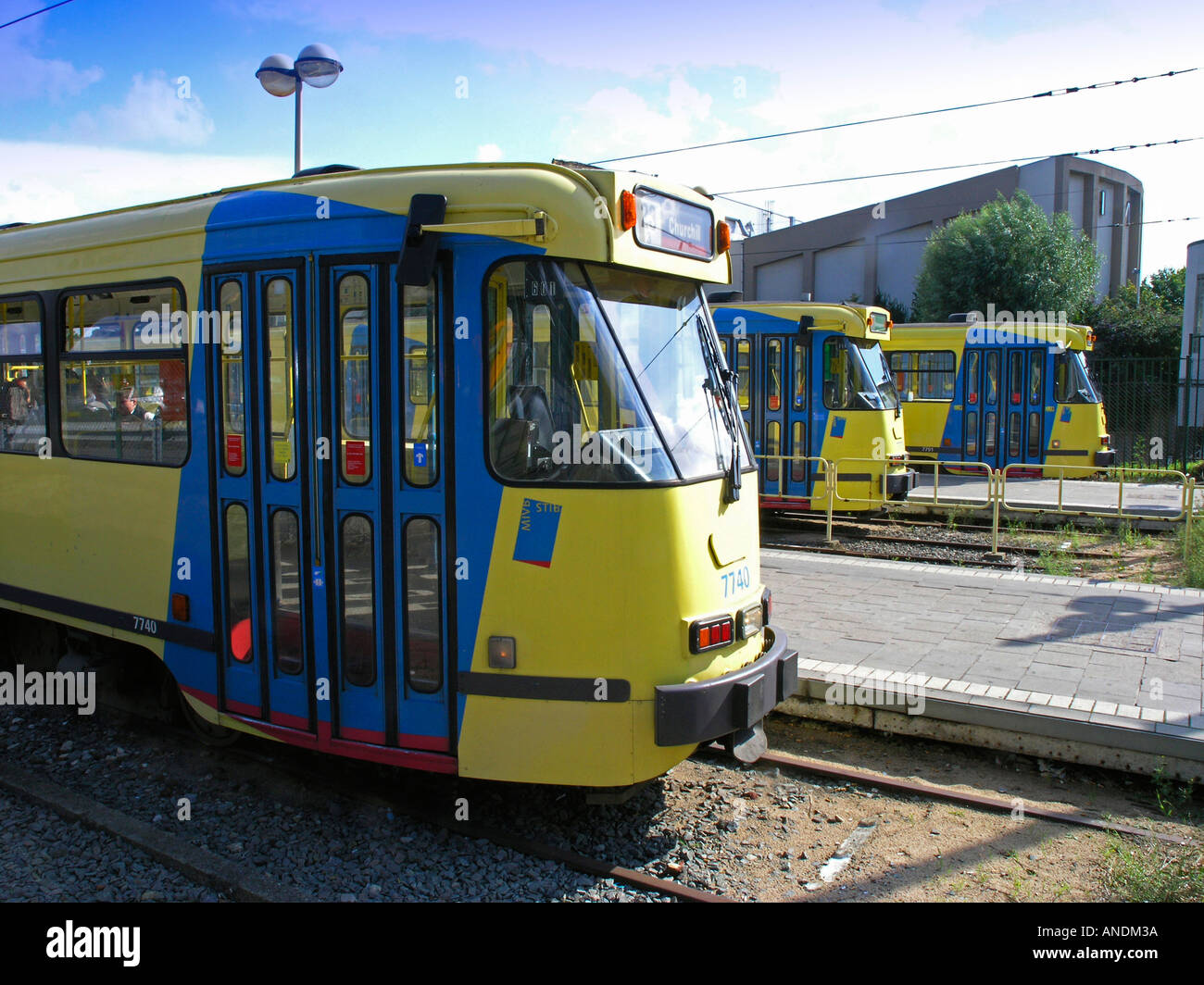Tram Brussels Bruxelles Belgium Travel transport transportation logistic  - Stock Image