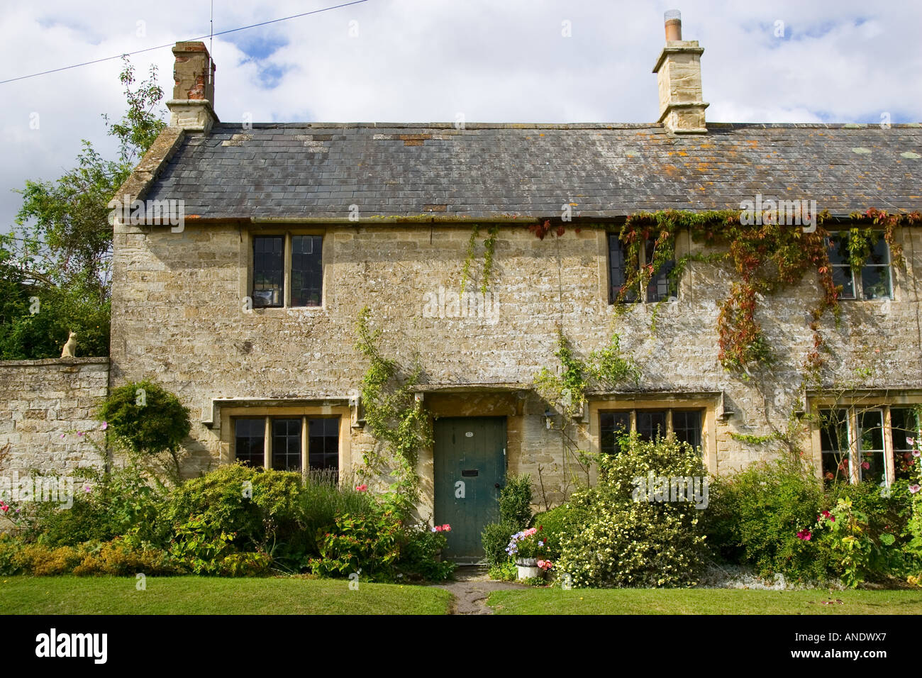 Country cottage in Windrush The Cotswolds Oxfordshire United Kingdom Stock Photo
