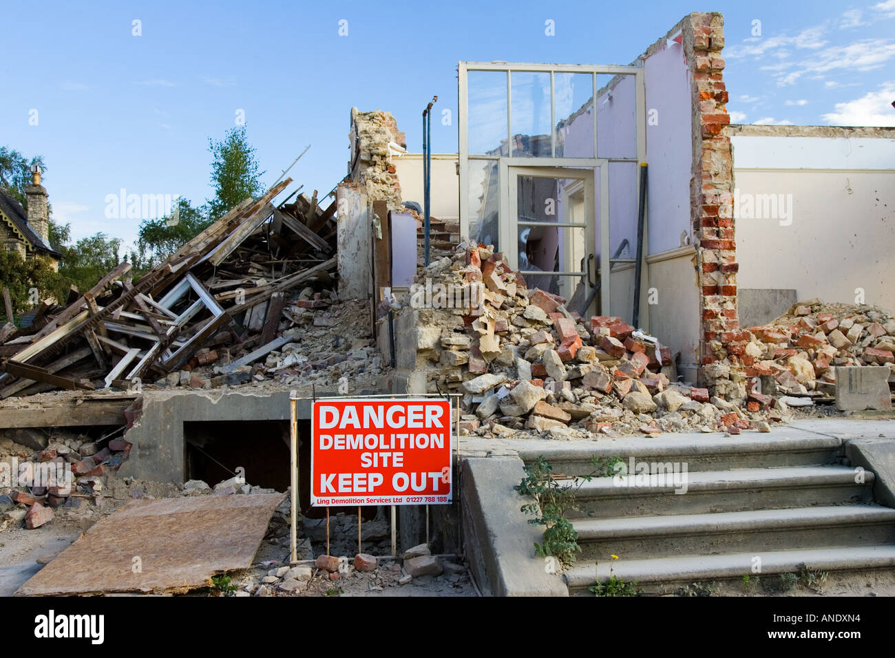 Construction site of demolished residential house Cirencester Gloucestershire UK - Stock Image