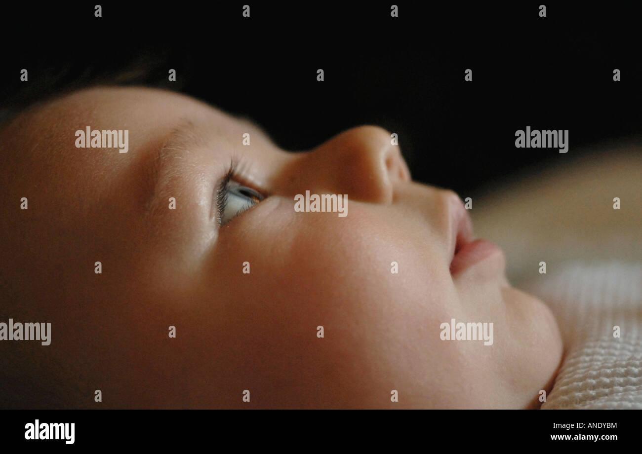 Blue eyed baby boy (1 month) - Stock Image