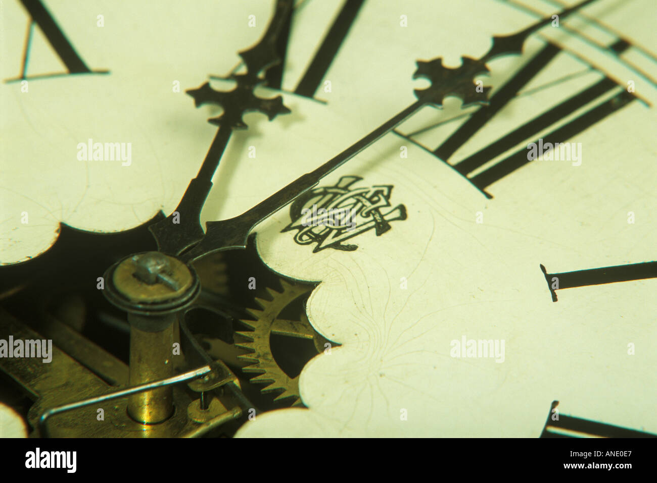 Clock Face with Roman Numerals - Stock Image