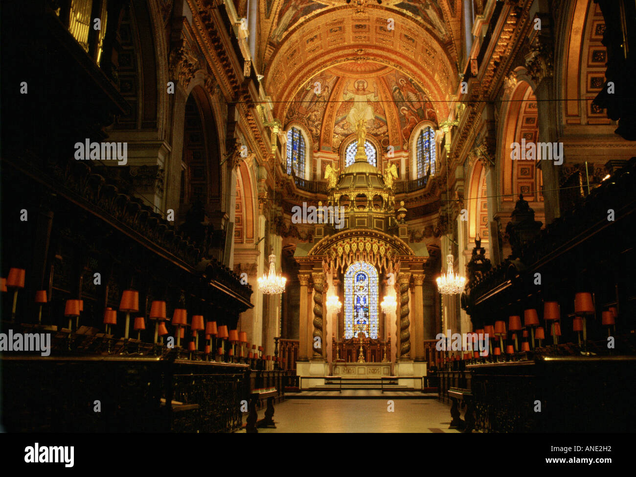 Interior of St Paul s Cathedral which was designed by architect Sir Christopher Wren London UK - Stock Image