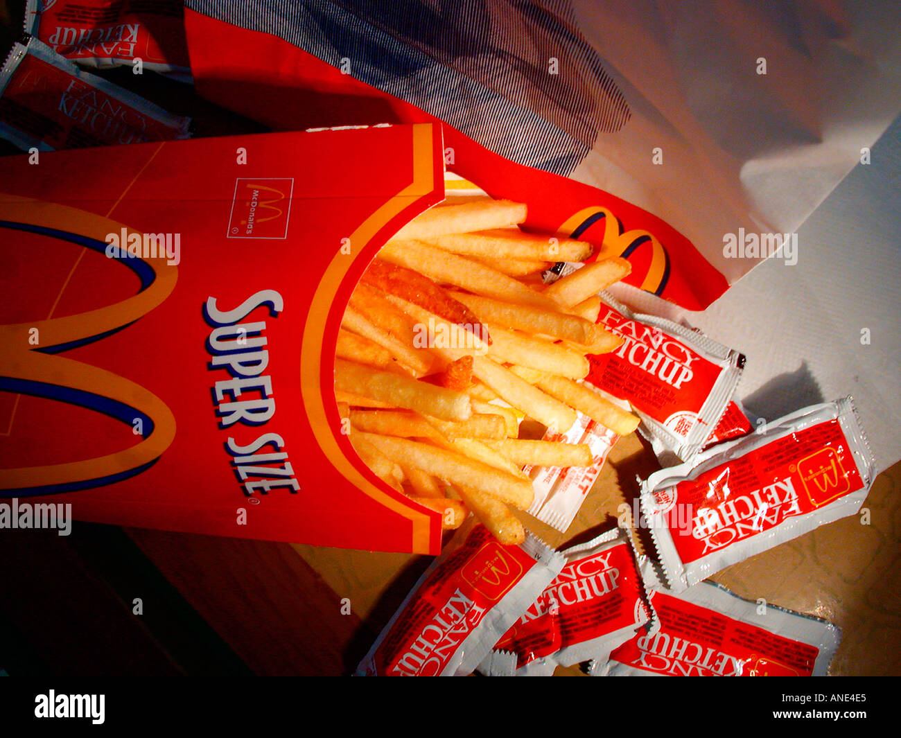 A Super Size Container Of Mcdonald S French Fries Stock Photo