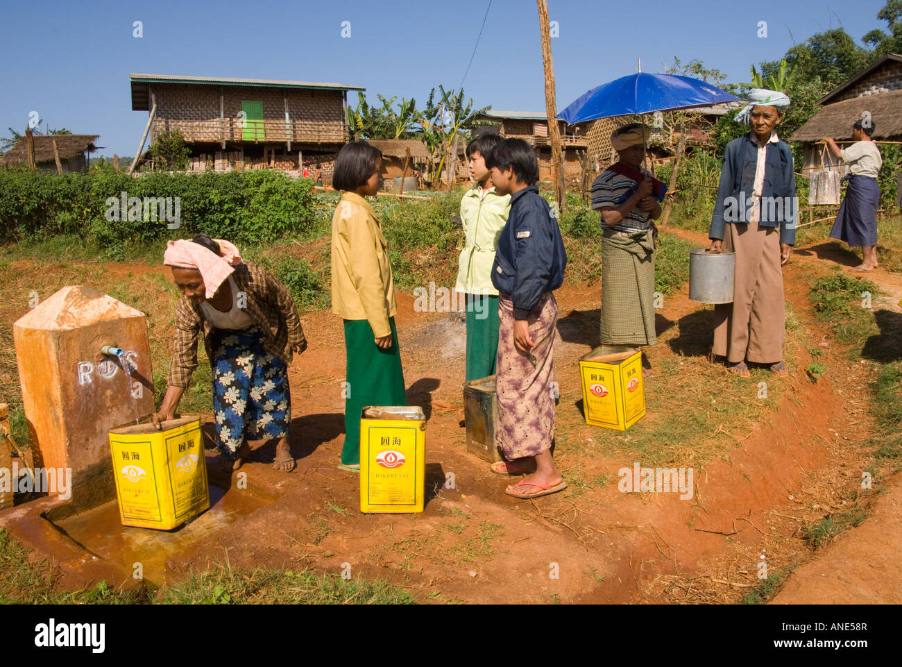 Water supply network built by a local NGO - Stock Image