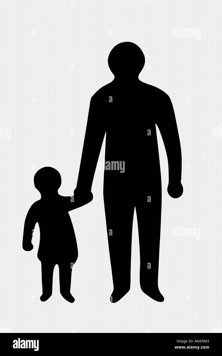Adult and child as used in warning sign United Kingdom - Stock Image