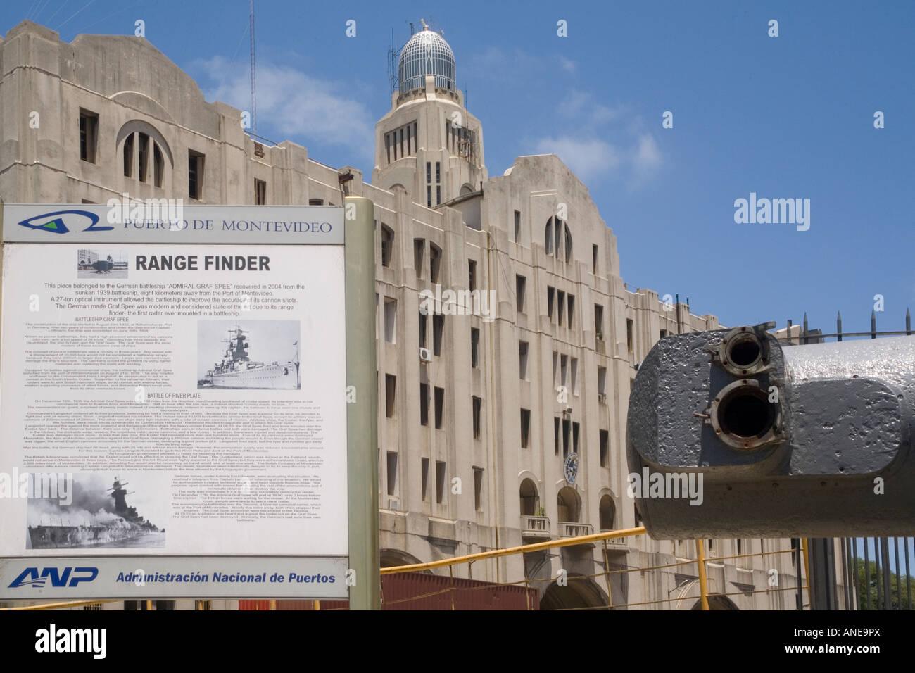 Uruguay Montevideo Docks Graf Spee rangefinder relic, with memorial plaque - Stock Image