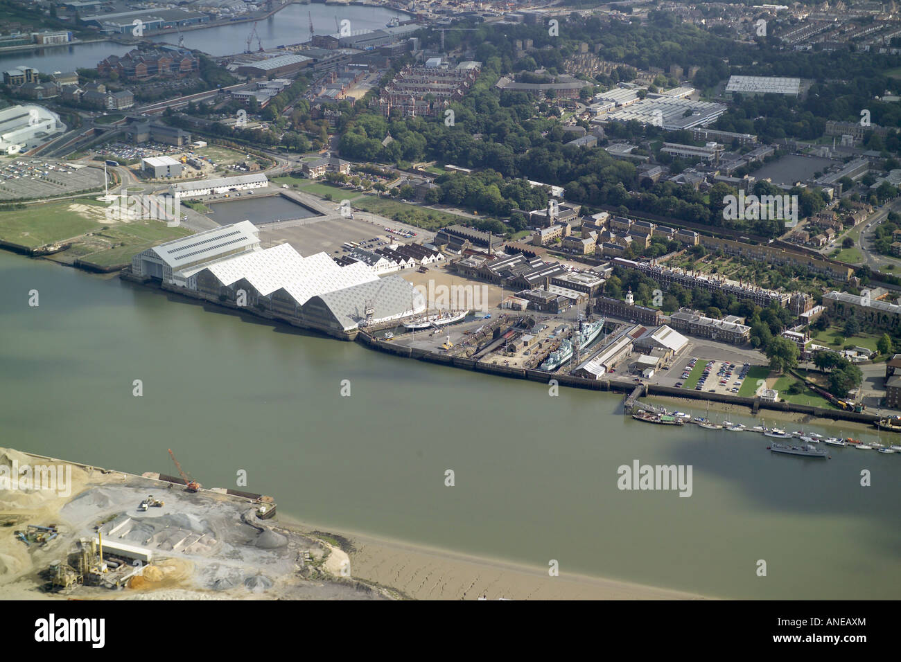 Aerial view of historic dockyard chatham on the banks of for The chatham