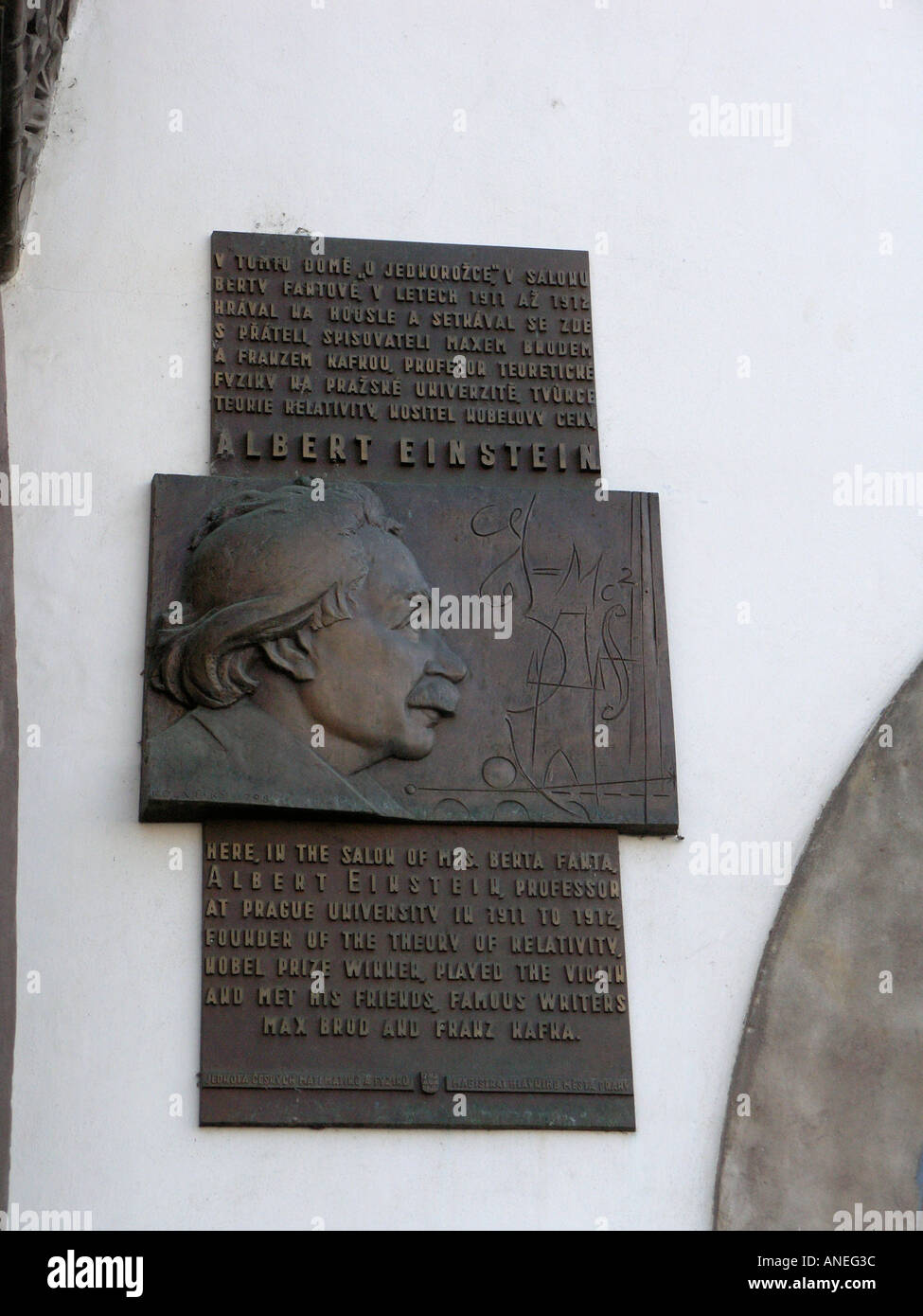 Memorial plaque outside the salon of Mrs Berta Fanta where Albert Einstein, founder of the theory of relativity - Stock Image