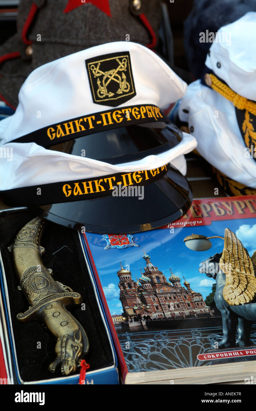 Russian Souvenirs Sailor Hat Guide Book Dagger on Sale in St Petersburg  Russia - Stock Image 2c4e95629ab9
