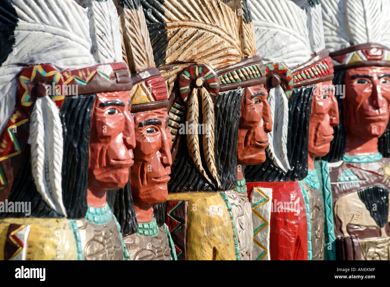 Statues of Native American Indians Carved from Wood and Painted, Jackson Hole, Wyoming - Stock Image