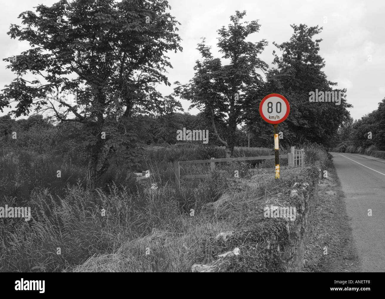 Road sign on Irish Country Road. Eighty kilometres speed limit. Sign in Colour, road in monotone. - Stock Image