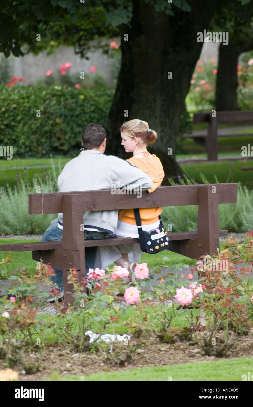 Two Teenage Lovers On Park Bench Tralee Ireland Stock Photo 5063380