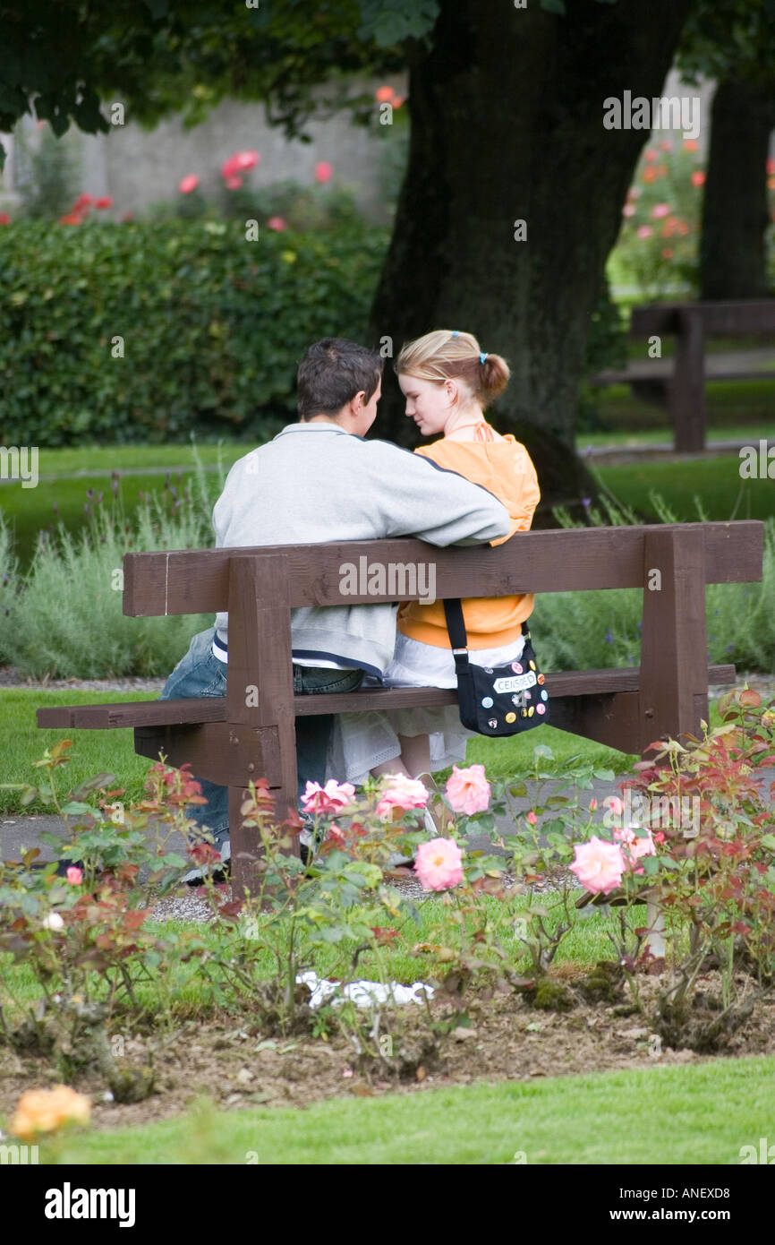Two Teenage Lovers On Park Bench Tralee Ireland Stock Photo 5063383