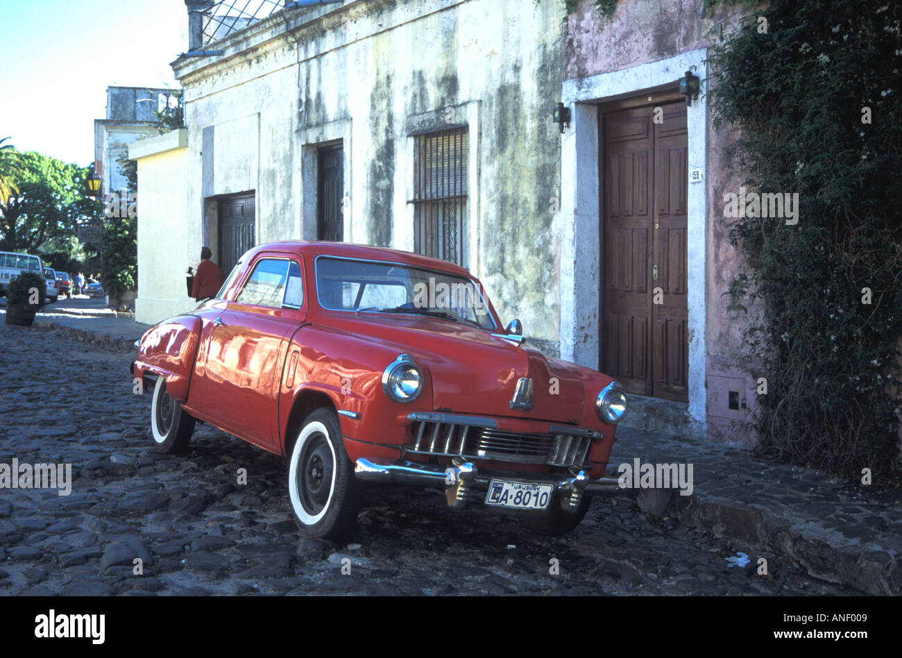 Classic Car with Whitewall Tyres Colonia Uruguay - Stock Image