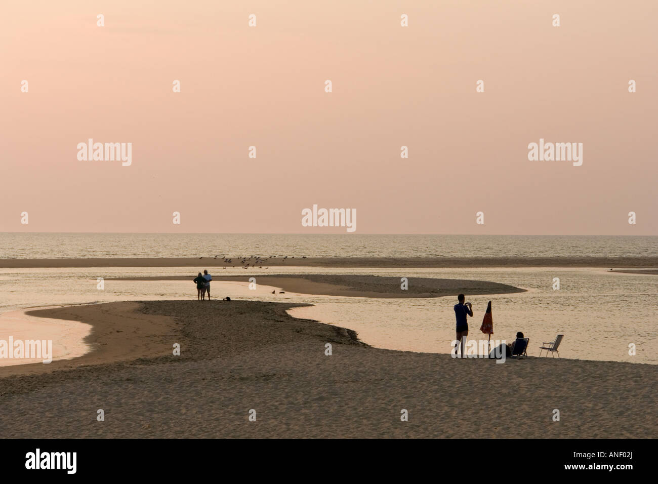 Belated strollers on the beach, at sunset (Landes-France). Promeneurs attardés sur la plage, au coucher de - Stock Image