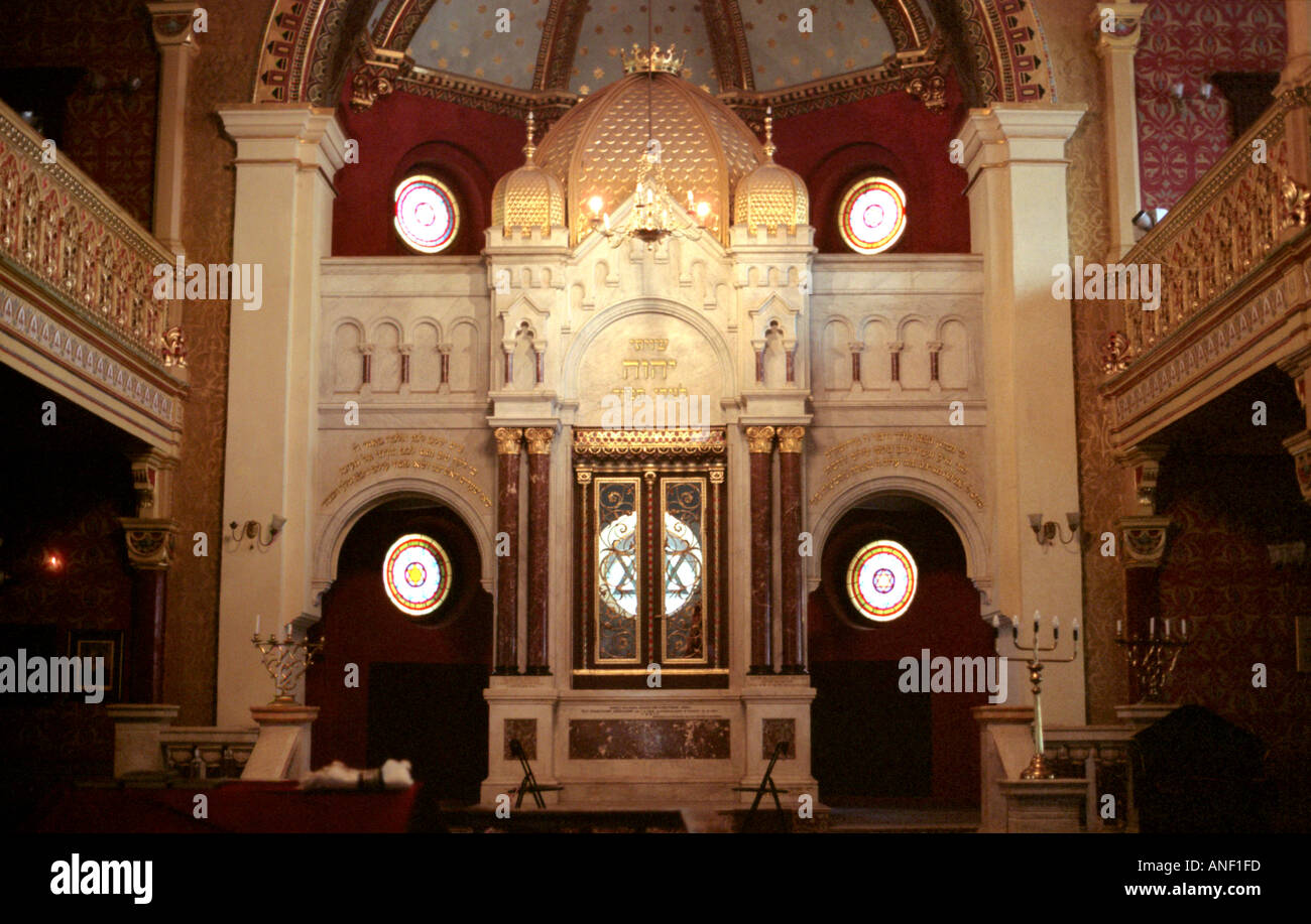 ornate stucco red and gold polychrome and stained glass windows in the tempel synagogue kazimierz krakow poland - Stock Image