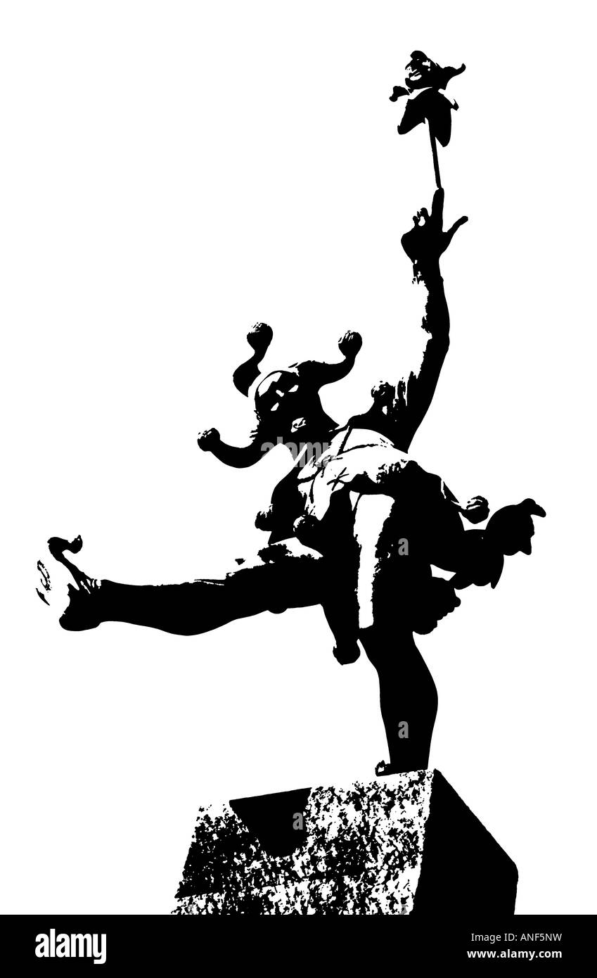 Posterized silhouette of The Jester, a statue by James Butler RA, Stratford Upon Avon, Warwickshire, England - Stock Image