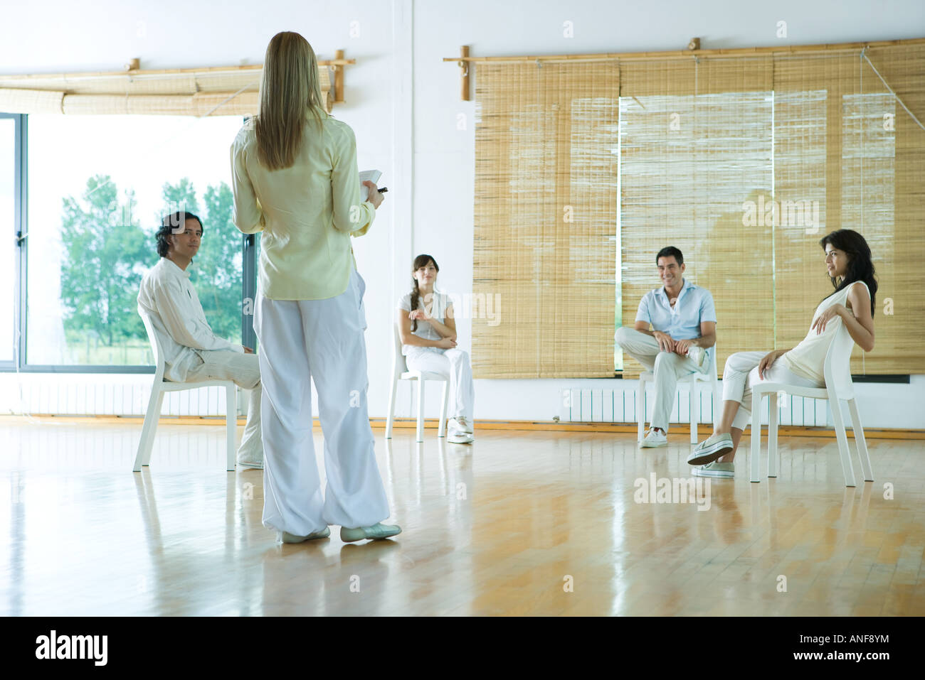Woman leading group therapy session, rear view - Stock Image