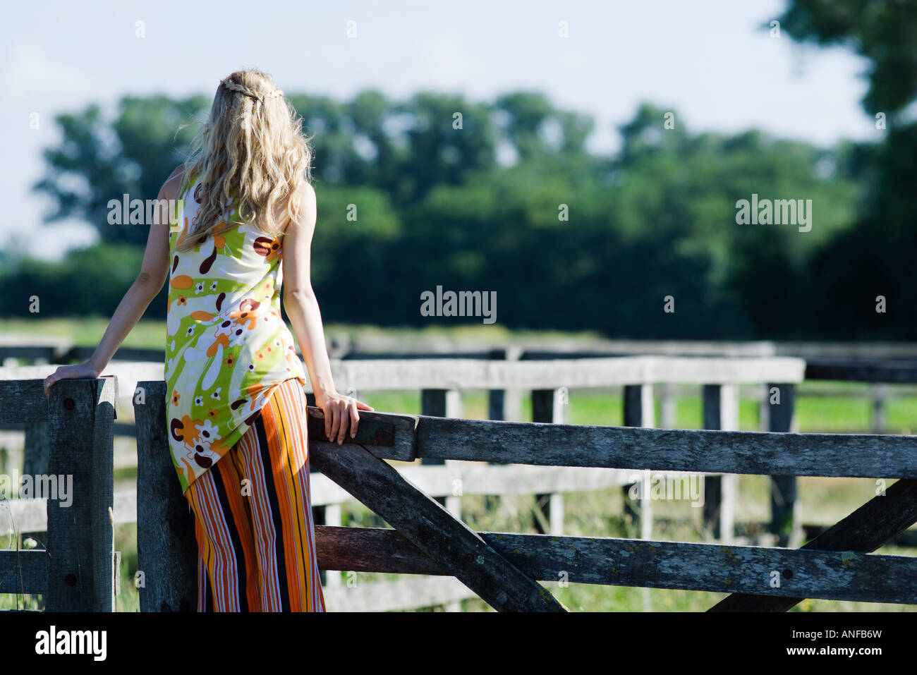 Young woman leaning against rural fence, rear view - Stock Image