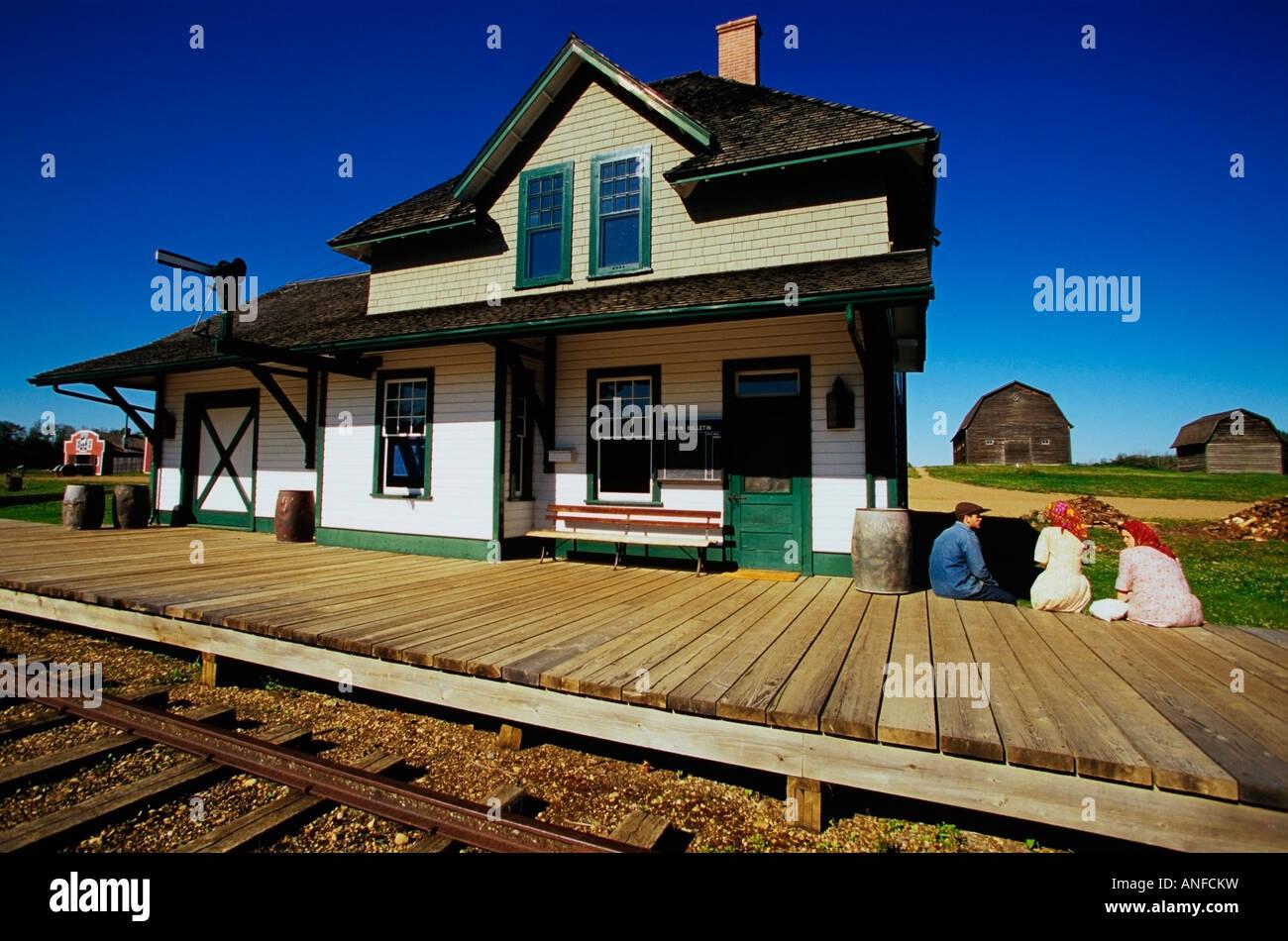 Children at Train station, Ukrainian Cultural Heritage Village, Edmonton, Alberta, Canada. - Stock Image