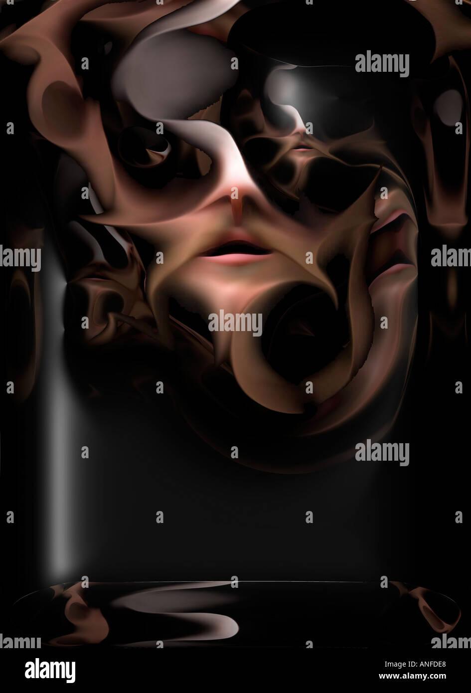 Strange face - poster - Stock Image