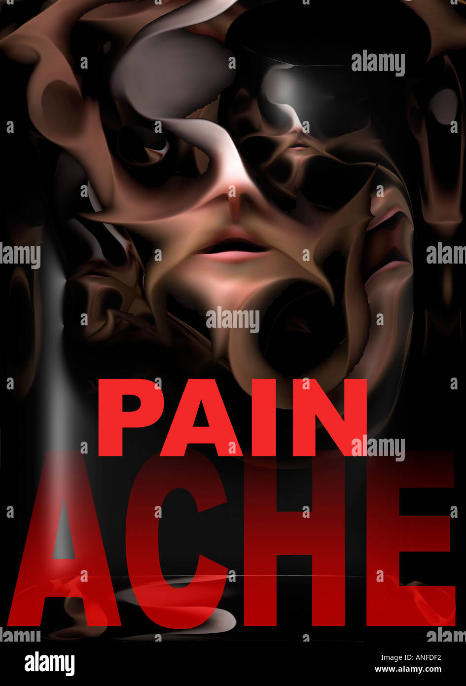 Pain Ache - poster - Stock Image