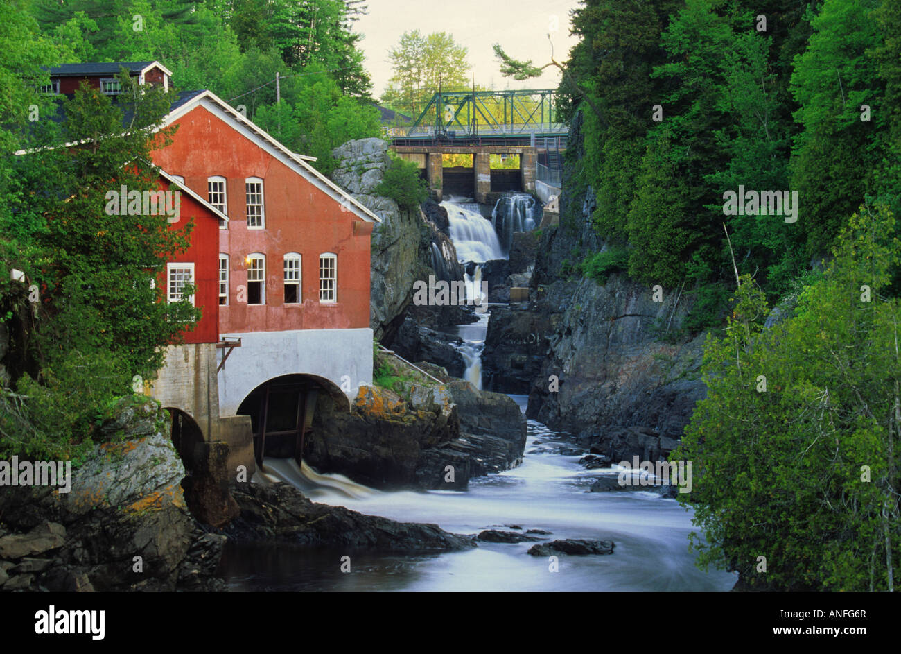 Mill and waterfall, St. George, New Brunswick,  Canada - Stock Image