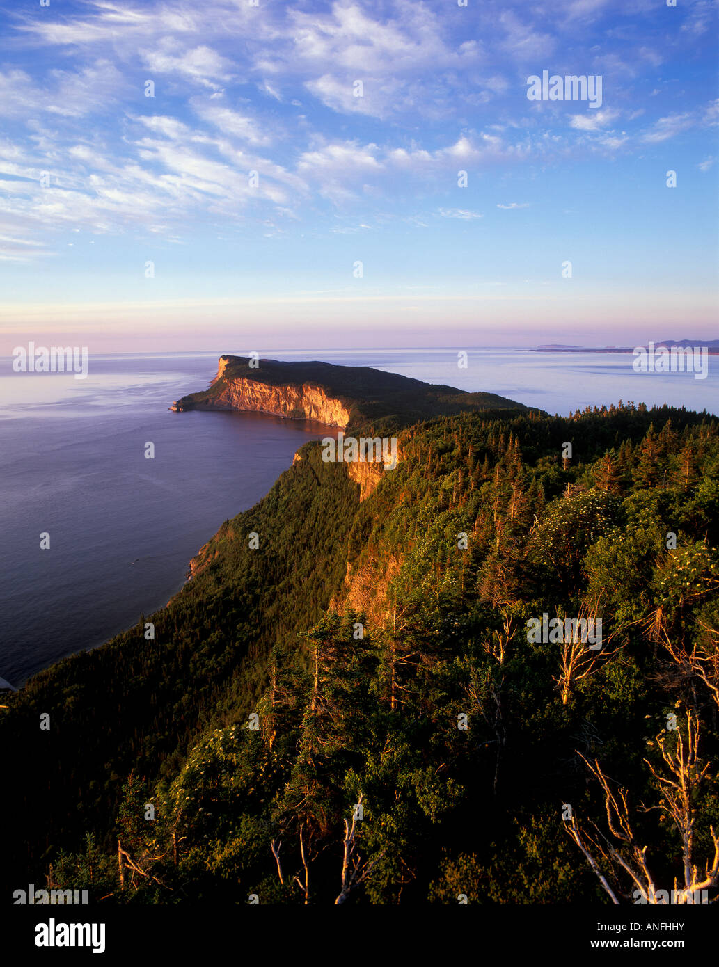 View of the Forillon peninsula - the northeastern most tip of the Gaspe Peninsula - from the Lookout Tower on the - Stock Image
