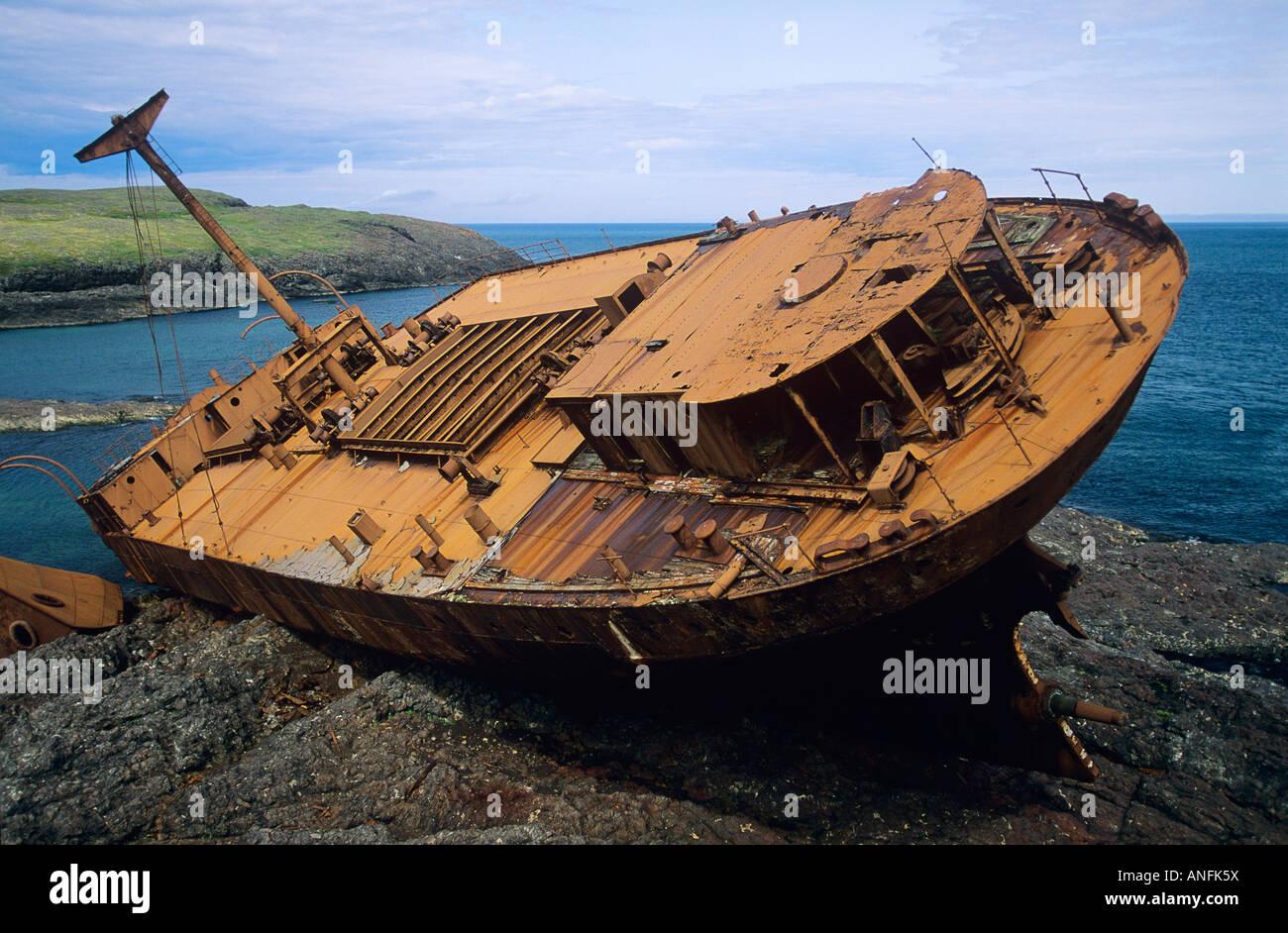 shipwreck off the coast of newfoundland, Canada. - Stock Image