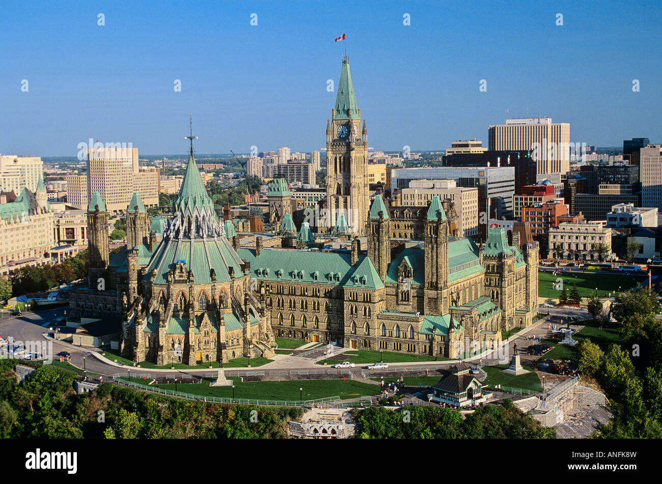 aerial of parliament hill hull ottawa ontario canada stock photo