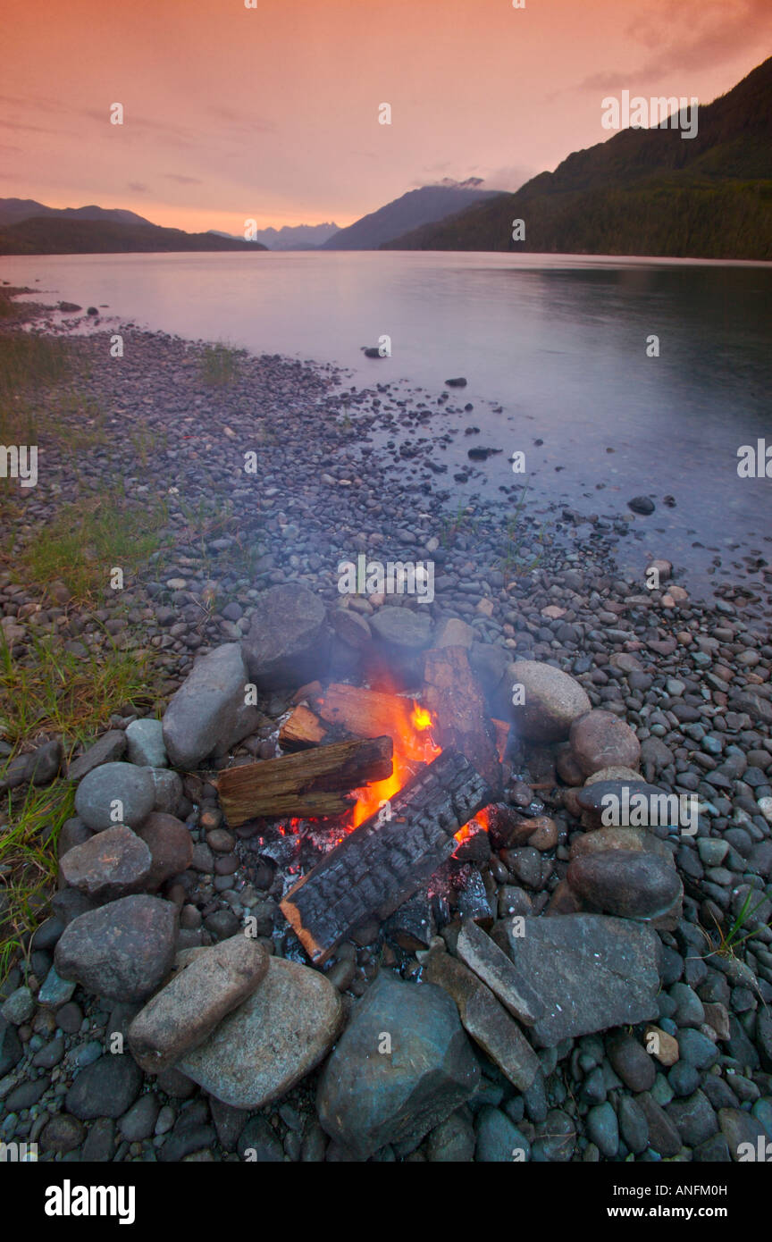 Camping on Nimpkish Lake on Northern Vancouver Island, british columbia, canada. - Stock Image