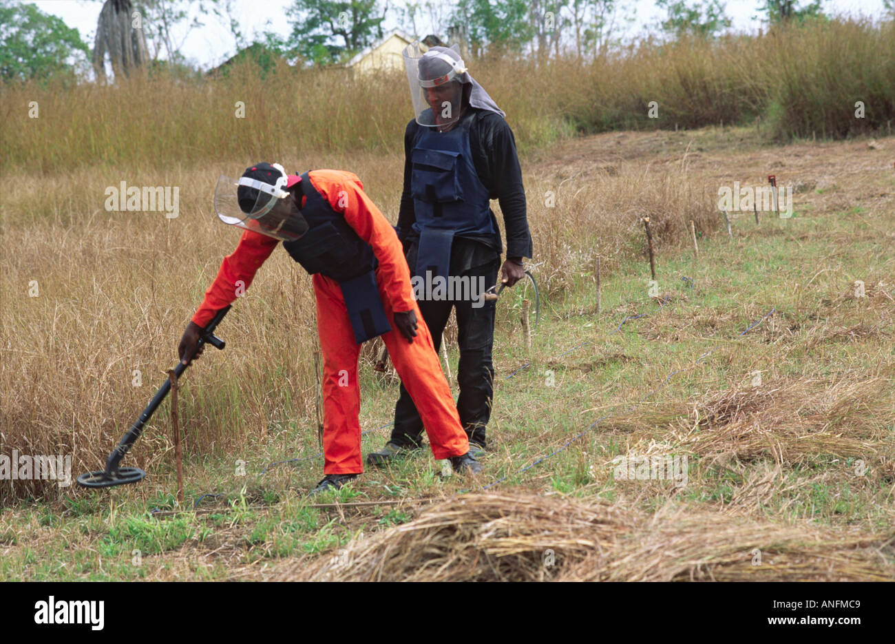 A trainee, with landmine expert from the Halo Trust, learning to detect land mines for eradication after the civil Stock Photo