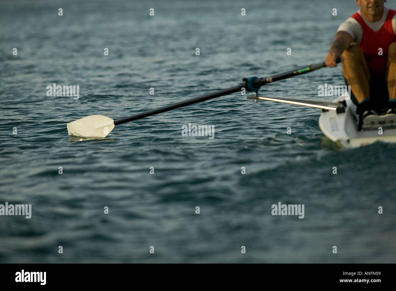 Single coxless rower with red bib - Stock Image