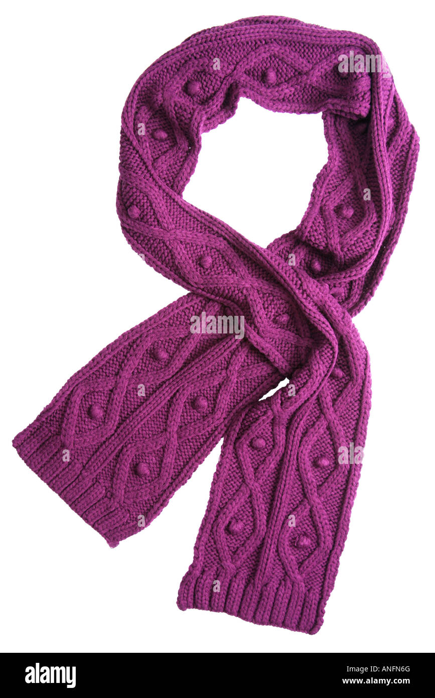 Violet wool scarf isolated on white background - Stock Image