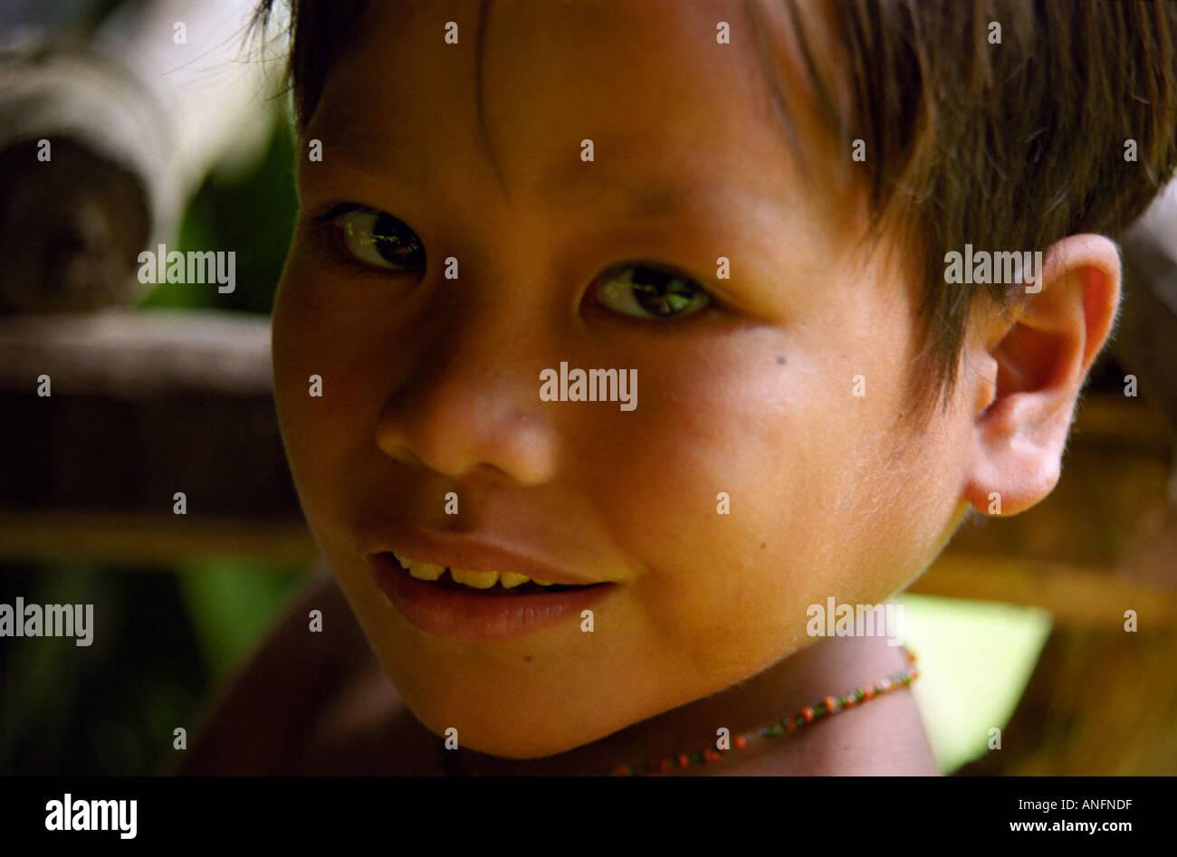Mentawai boy on the Sumatran island of Siberut - Stock Image