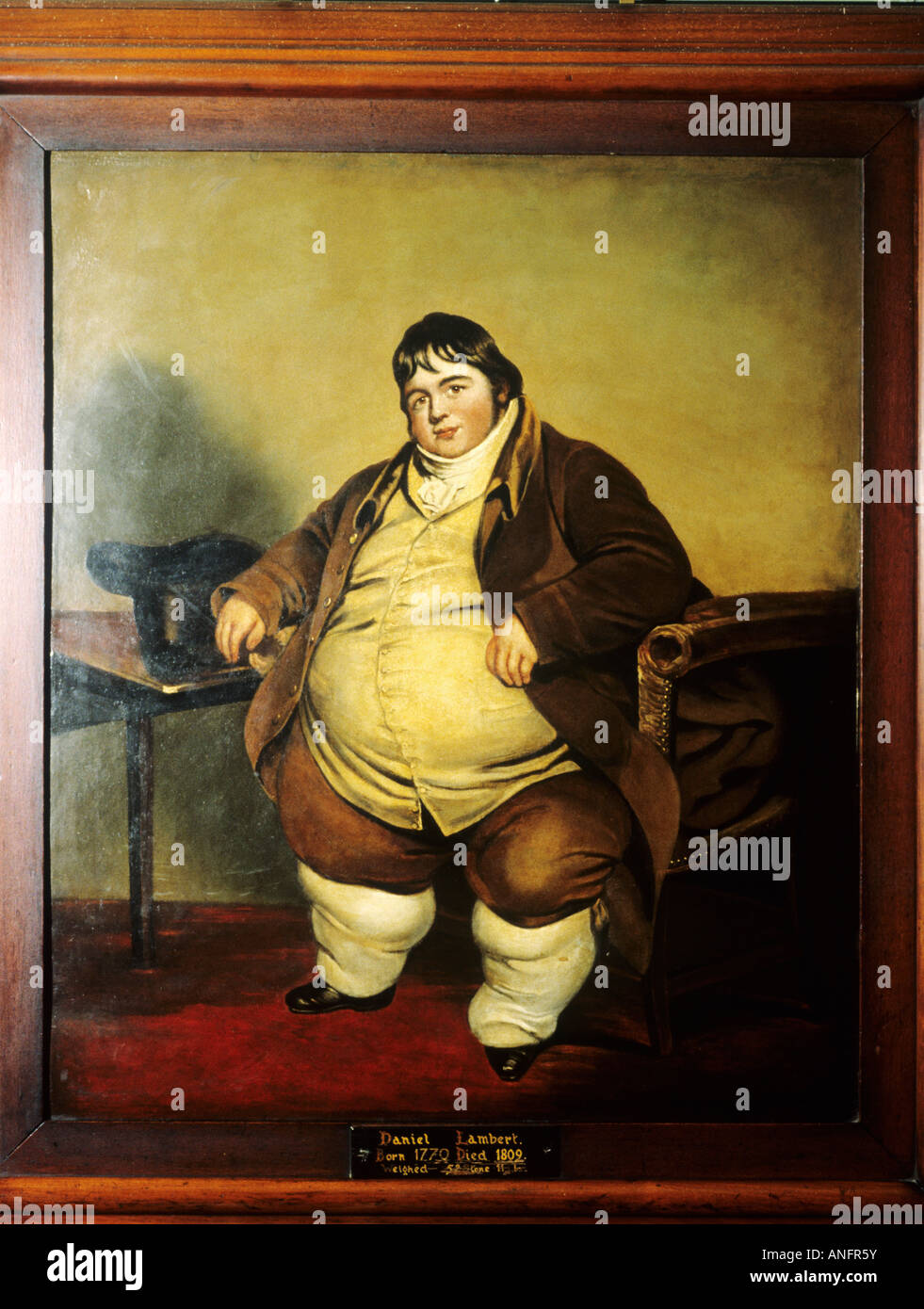 Daniel Lambert famous obese Englishman 18th century weight 52 stones 11 pounds fat obesity celebrated well known - Stock Image