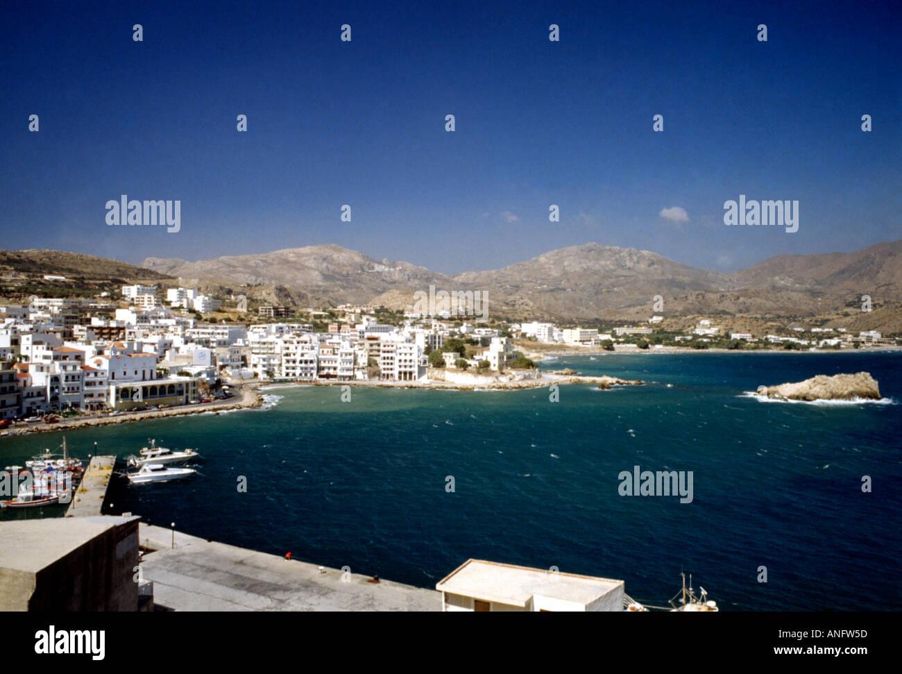 Pigadia Town Greek Dodecanese Island Karpathos Greece Stock Photo