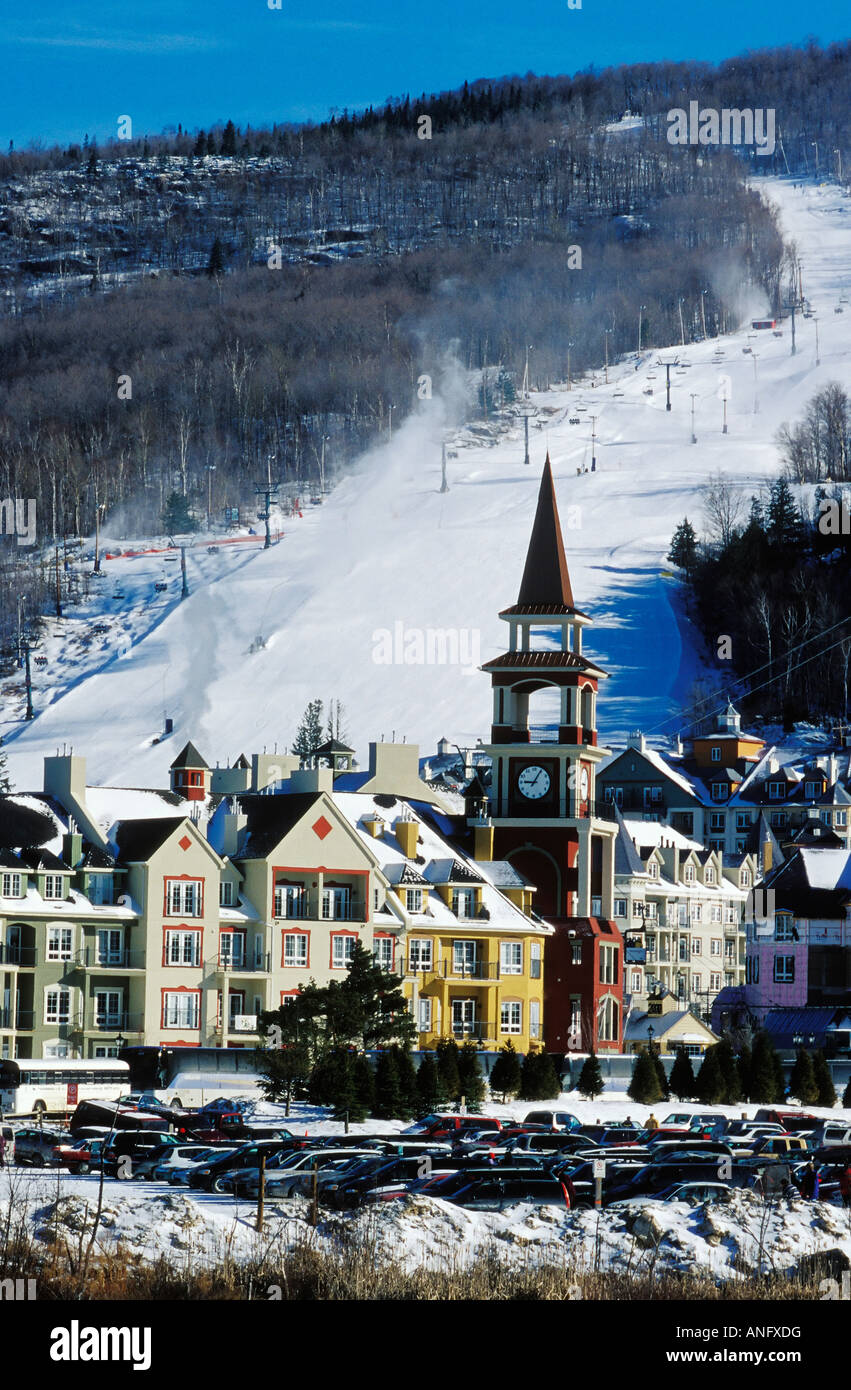 view of village at the base of mont tremblant ski resort, north of