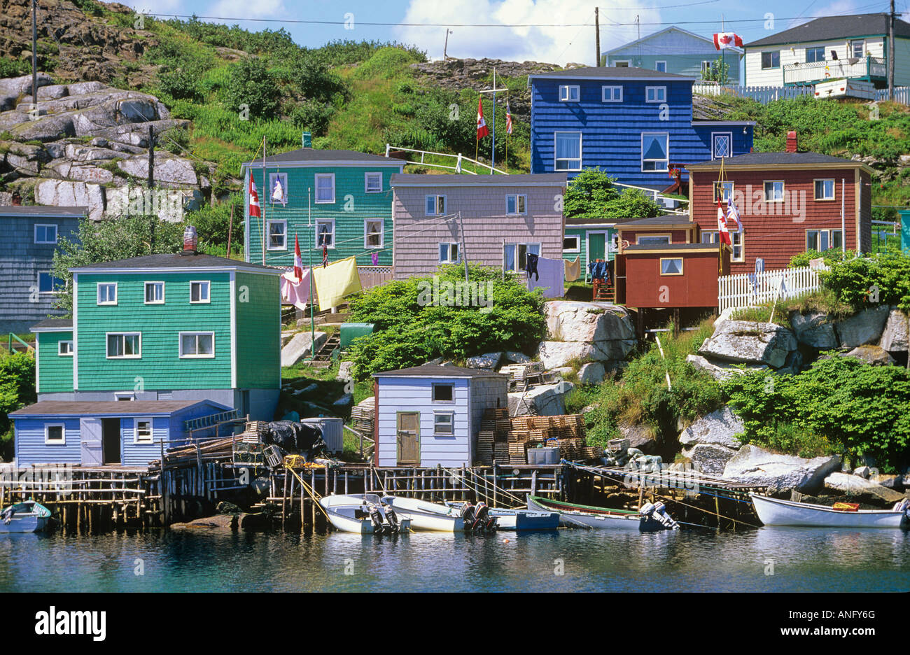 Brightly painted houses in fishing village of Rose Blanche, Newfoundland, Canada. - Stock Image