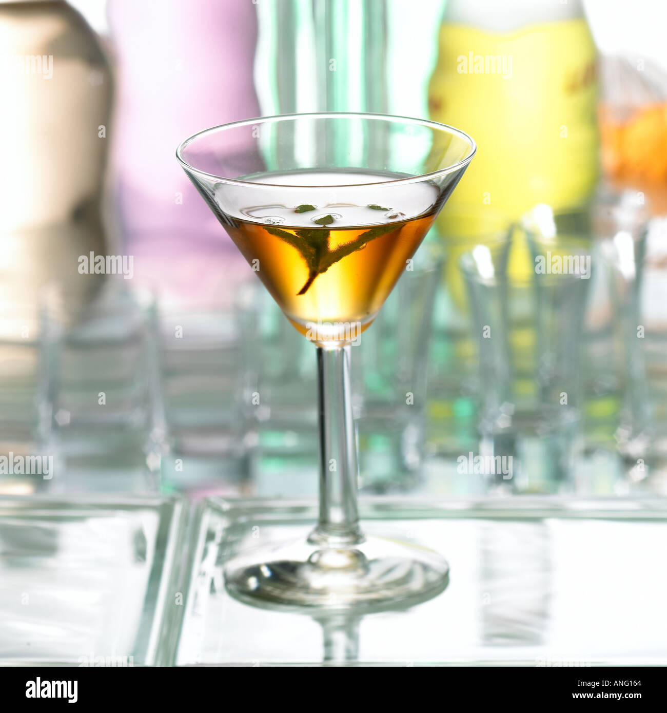 Cocktail Tricky Dicky Bourbon Whiskey White Creme de Menthe White Curacao Angostura Bitters Keywords drink alcohol cocktails - Stock Image