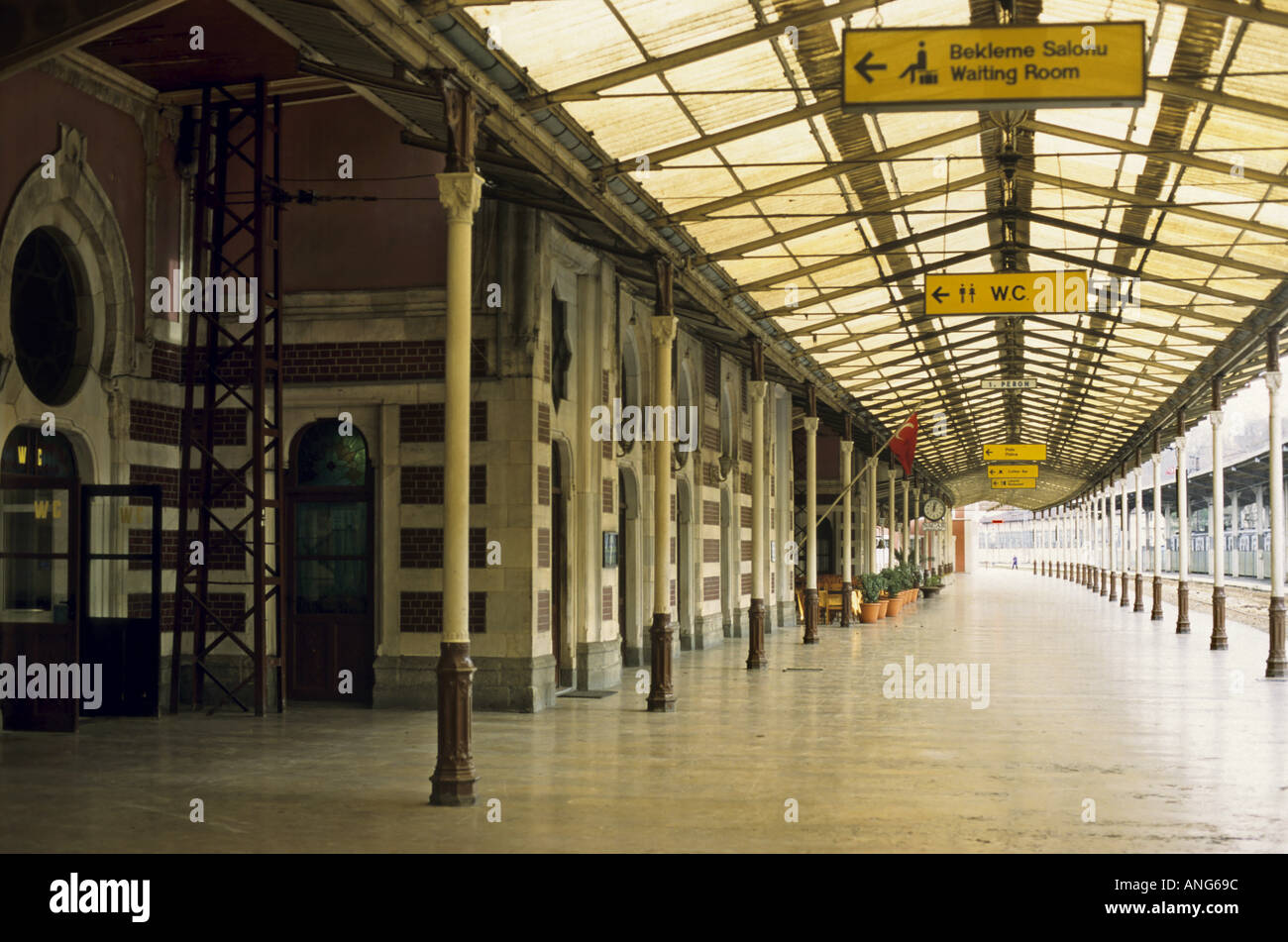 Central railway station building and platform, Istanbul, Turkey. - Stock Image