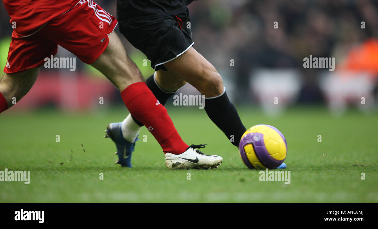 football soccer action close-up premiership ball - Stock Image