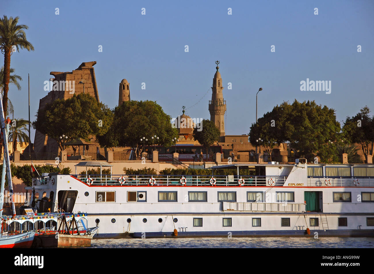 Nile cruiser vessel docked in the Nile River in Aswan southern Egypt - Stock Image