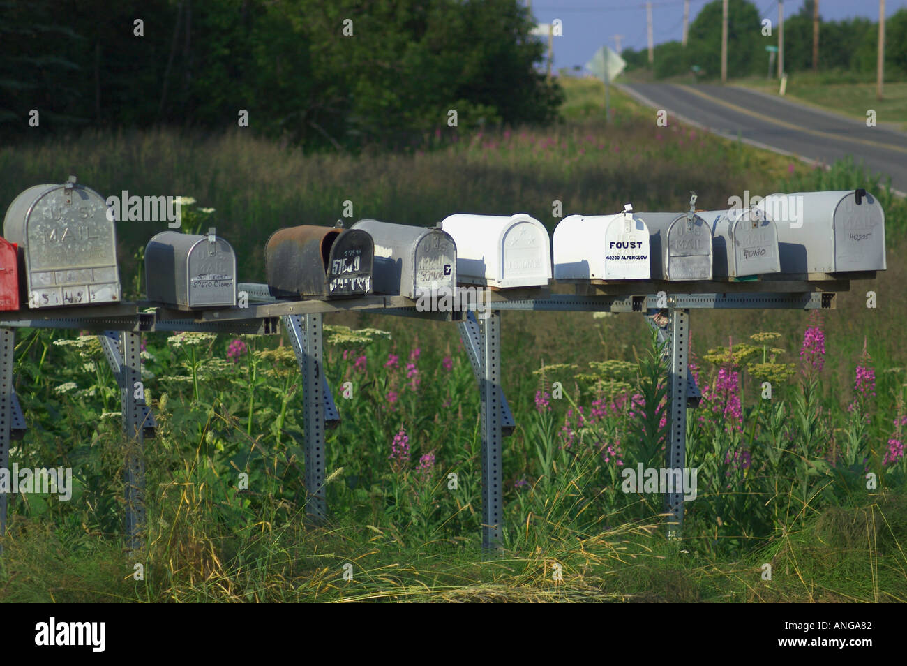 rural mailboxes Stock Photo