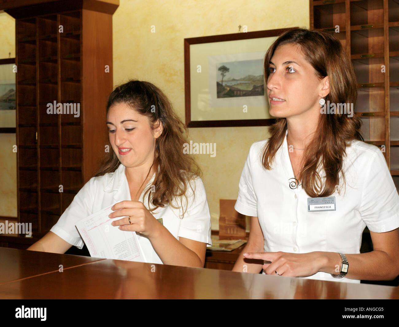 Palermo Sicily Italy Genoardo Park Hotel Receptionists - Stock Image
